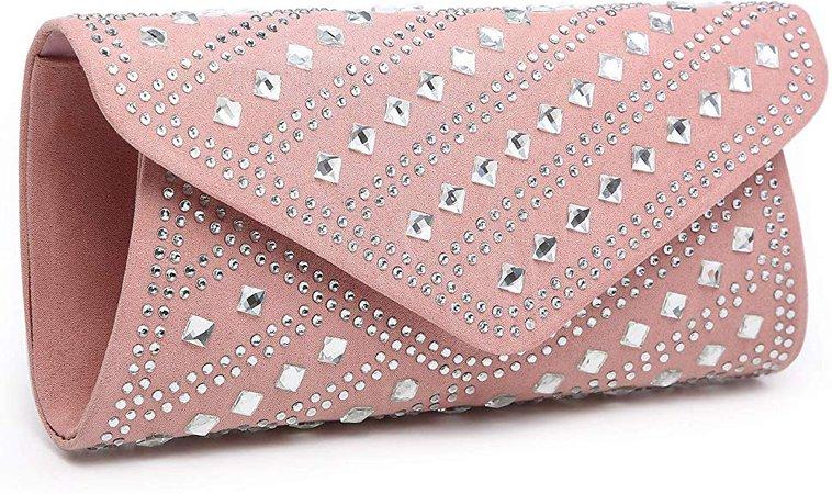 Dasein Rhinestone Evening Bags Glitter Clutch Handbags Studded Envelope Purses for Prom Party Wedding Pink: Handbags: Amazon.com