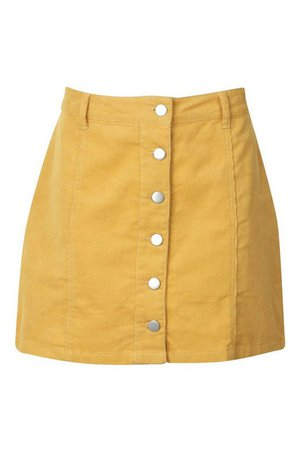 Button Through Cord Mini Skirt | Boohoo