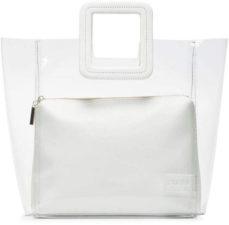 clear and white Shirley PVC and leather tote