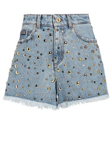 Studded Denim Cut-Off Shorts