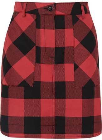 Checked Cotton Mini Skirt - Red