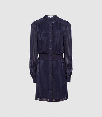 Sophia Navy Belted Shirt Dress – REISS
