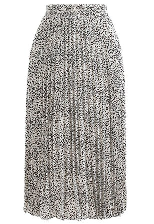 Animal Print Pleated Midi Skirt in Ivory - Retro, Indie and Unique Fashion