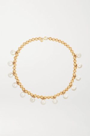 Gold 14-karat gold pearl necklace   Marlo Laz   NET-A-PORTER