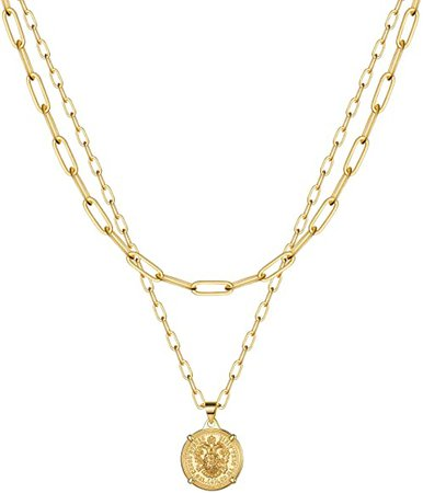 Amazon.com: Gold Link Choker Necklaces for Women - 14K Gold Coin Chain Set Link Chain Necklace Set Link Chain Thick Layering Chain Necklace for Women: Clothing