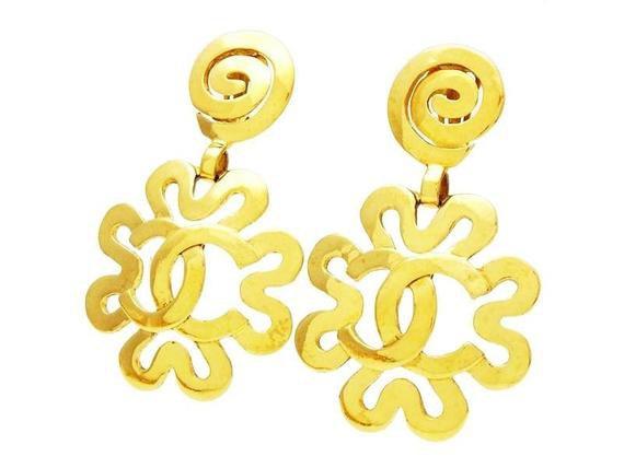 Authentic vintage Chanel earrings CC logo flower dangled | Etsy