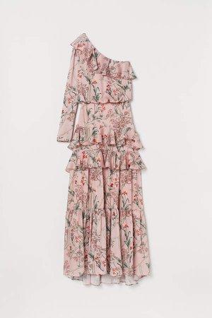 One-shoulder Satin Dress - Pink