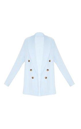 Baby Blue Oversized Button Detail Blazer | PrettyLittleThing