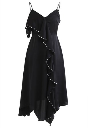 Pearl Trims Ruffle Asymmetric Cami Dress - Retro, Indie and Unique Fashion