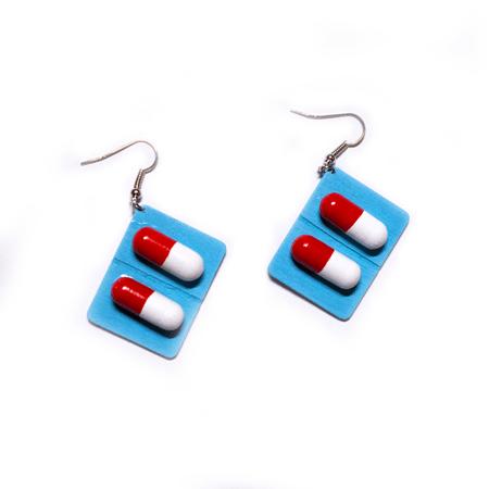 blue capsule pill earrings – Trash Queen