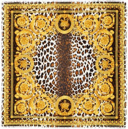Leopard Barocco Square Silk Scarf