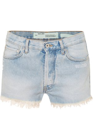 Off-White | Distressed denim shorts | NET-A-PORTER.COM