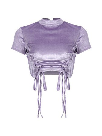 Satin lavender short sleeve crop top