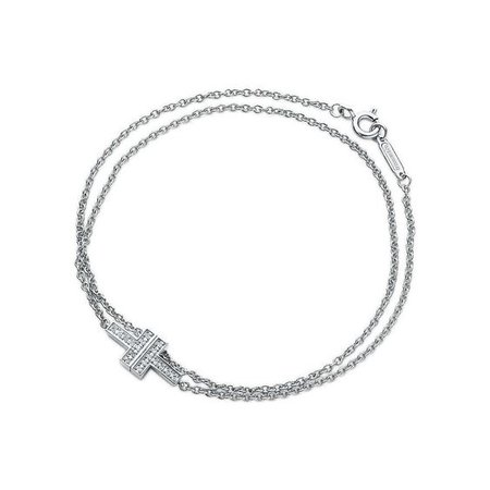 Tiffany T Two double chain bracelet in 18k white gold with diamonds, medium. | Tiffany & Co.