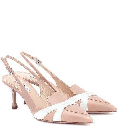 Leather Slingback Pumps - Prada | Mytheresa