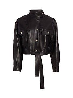 IRO Ormos leather trucker jacket