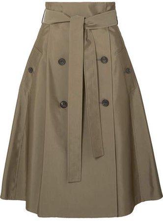 Cotton-blend Gabardine Midi Skirt - Army green