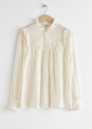 Jacquard Frill Blouse - White - Blouses - & Other Stories