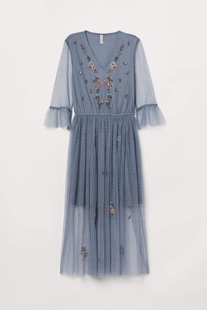 Mesh dress with embroidery - Blue