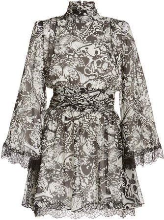 Dundas Lace-Trimmed Printed Chiffon Mini Dress