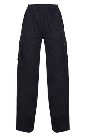 Black Wide Leg Cargo Trouser | Trousers | PrettyLittleThing