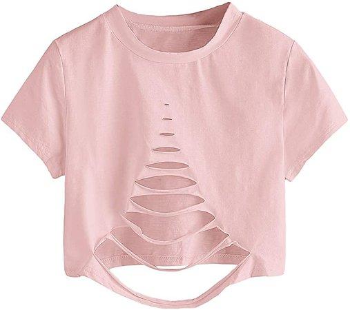 SweatyRocks Women's Short Sleeve Cutout Tee Shirt Distressed Crop Top Solid White Medium at Amazon Women's Clothing store