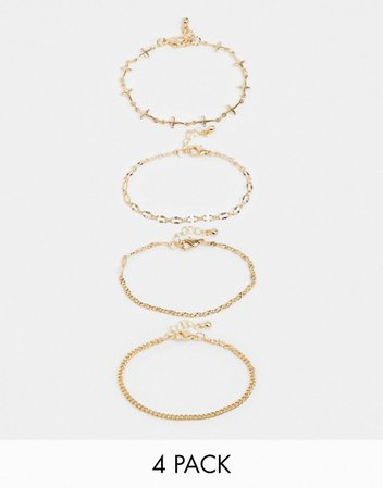 Reclaimed Vintage inspired mixed chain bracelet pack in gold | ASOS