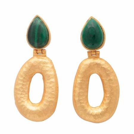 Matte Gold Finish Malachite Earrings | Carousel Jewels | Wolf & Badger