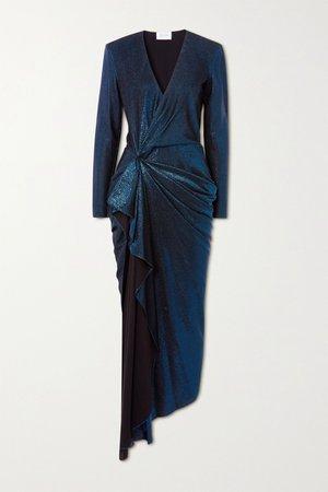 Blue Asymmetric draped lamé dress | Redemption | NET-A-PORTER
