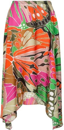 Butterfly Print Asymmetric Skirt