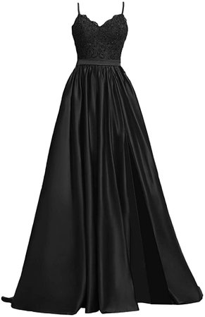 Amazon.com: APXPF Women's Lace Prom Dresses Long Satin Slit Formal Evening Gowns with Pockets Black US2: Clothing