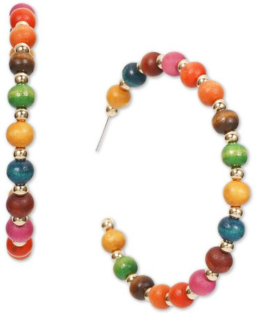 """INC International Concepts INC Gold-Tone Multicolor Wood Bead Medium Hoop Earrings, 1.6"""", Created for Macy's & Reviews - Earrings - Jewelry & Watches - Macy's"""