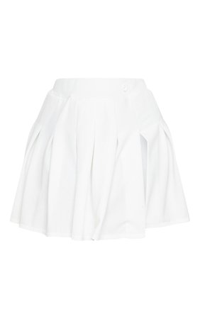 Plus White Pleated Side Split Tennis Skirt | PrettyLittleThing USA