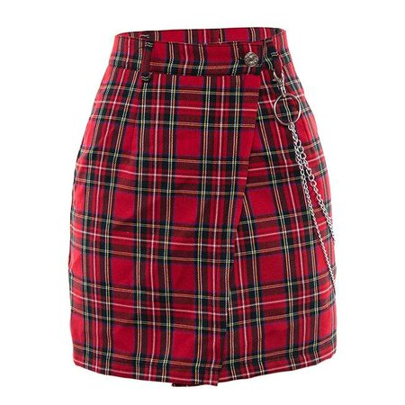 eGirl Red checkered mini skirt - Shoptery soft girl shop