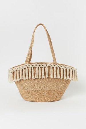 Tasselled beach bag - Beige - Home All | H&M GB