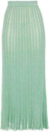 Metallic Ribbed Crochet-knit Midi Skirt