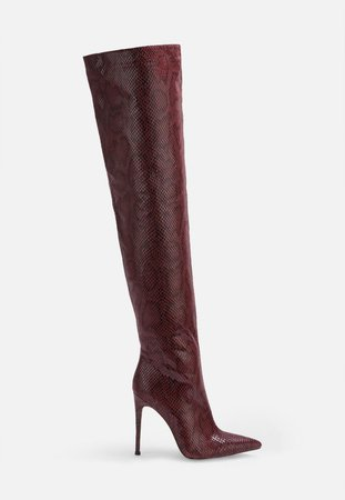Burgundy Faux Snake Over The Knee Boots | Missguided