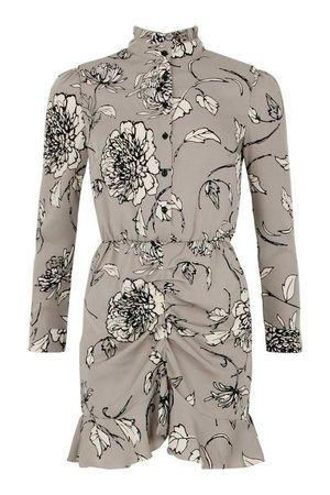 Long Sleeve Floral Print Skater Dress | boohoo