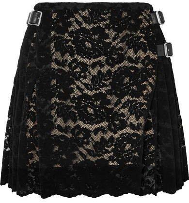 Pleated Flocked Lace Mini Skirt - Black