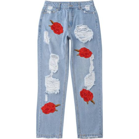Flower Embroidered Ripped Jeans ($34)