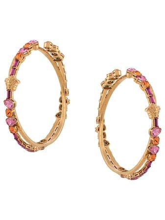 Versace Greca Crystal-Embellished Hoop Earrigns Ss20   Farfetch.com