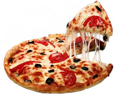 pizza w/ pepperoni and olives