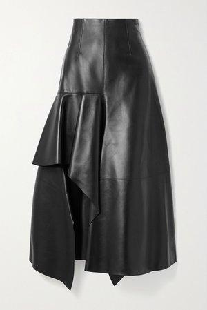Black Draped leather skirt   Alexander McQueen   NET-A-PORTER