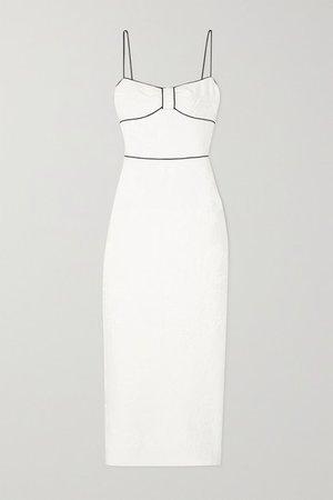 Piped Metallic Floral-jacquard Maxi Dress - White
