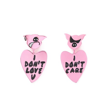 Long pink heart pig earrings | BIMBA Y LOLA ®