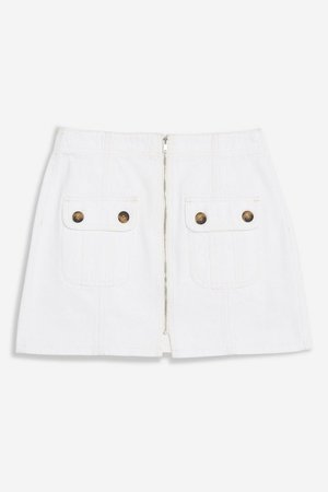 PETITE White Horn Button Denim Mini Skirt | Topshop White