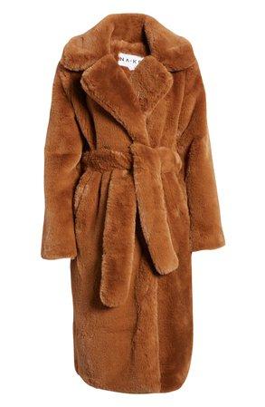 NA-KD Longline Faux Fur Coat wrap