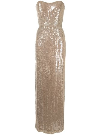 Jenny Packham Sequin Strapless Maxi Dress - Farfetch