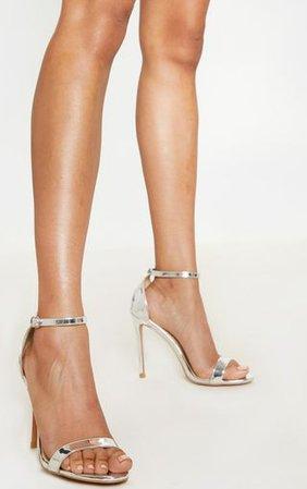 Clover Silver Metallic Strap Heeled Sandals | PrettyLittleThing