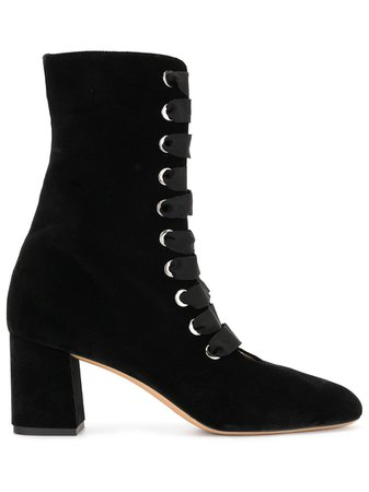 Le Monde Beryl Velvet Lace-Up Ankle Boots BLVELBO Black | Farfetch
